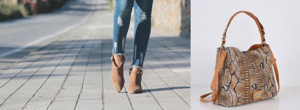 Botines con jeans y bolso Reptil de Misako