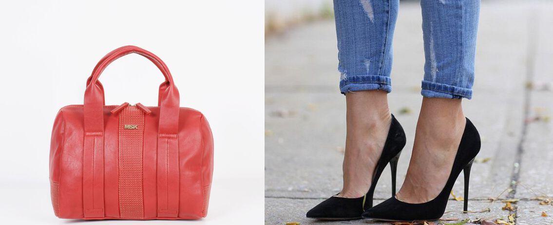 Zapato de tacón negro y bolso Moscú Misako